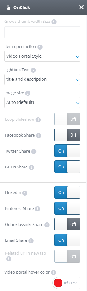 OnClick settings tab