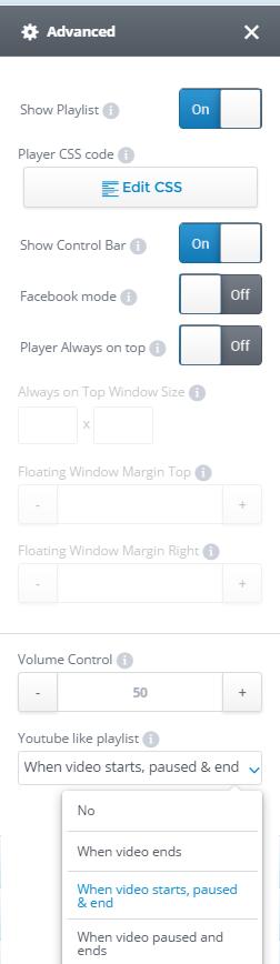 Advanced settings tab