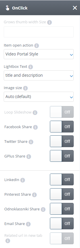 On click settings
